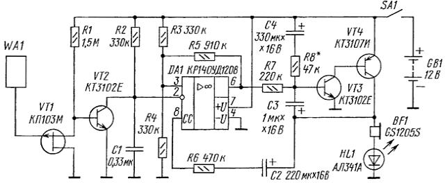 Схема индикатора электрического поля