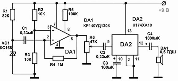 Схема акустического генератора белого шума